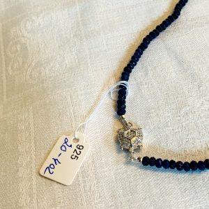 Halsband av agater små och stora (1cm)silver med cubic zirconia