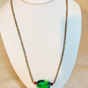 Handgjord silverkedja , 2 små röda agater och en glaspendang